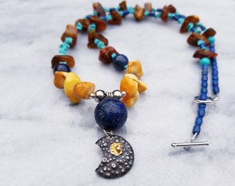 Cratered moon with semi-precious beads one of a kind asymetrical necklace
