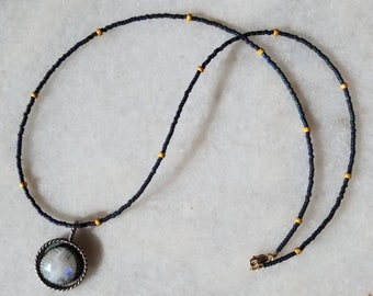 Night Sky Oxidized Sterling Silver Rose Cut Moonstone Medallion Layering Beaded Necklace