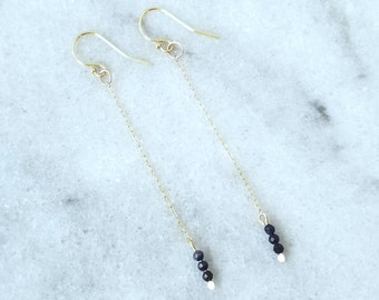 Subtle 14k Gold and Genuine Faceted Sapphire Chain Dangle Earrings
