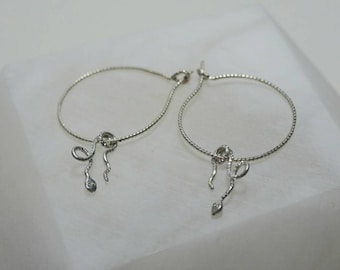 Delicate Sterling Silver Twisted Hoop Earrings with Snake Dangles