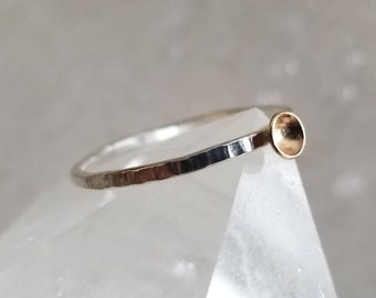Tiny cup of sunshine sterling silver and 14k gold ring, size 7