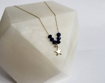 Tiny Twinkling Star 14k Gold,  Diamond and Lapis Lazuli Necklace