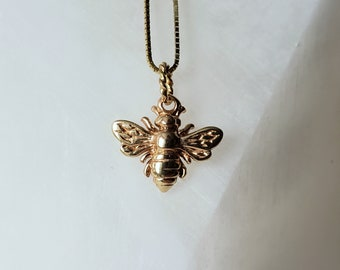Realistic Solid 14k Gold Honey Bee Pendant