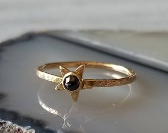 Unique 14k gold rose cut black diamond star ring, talisman ring, size 6.5