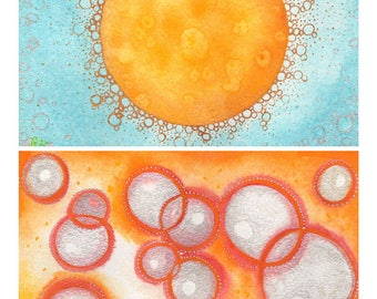 "All Is Stardust: Origin, original 8""x 6"" watercolor painting diptych"