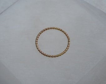 Dainty 14k Gold Twisted Rope Ring, Handmade Thin Solid Band