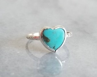 Tiny turquoise heart sterling silver pinky ring, size 4.5