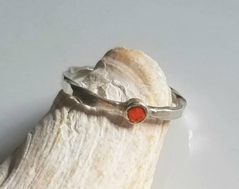 Twisted and hammered fire opal sterling silver ring, size 7.25