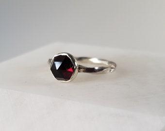 Handmade Sterling Silver Twisted Garnet Ring, Size 8 January birthstone