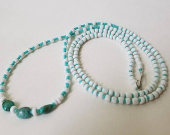 Long necklace with natural turquoise nuggets and glass beads