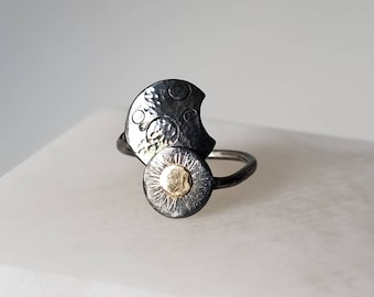 Sun and Moon, Sterling Silver and 14k Gold Adjustable Cestial Ring, Size 6-8