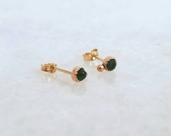 Solid 14k gold 3mm rose cut natural emerald orbit studs, post earrings