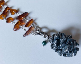 Long, hand wrapped beaded amber and sterling silver pinecone necklace, one of a kind