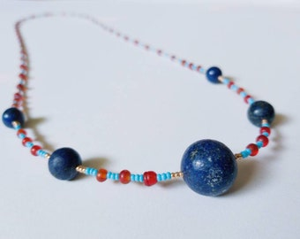 Long lapis lazuli beaded long necklace