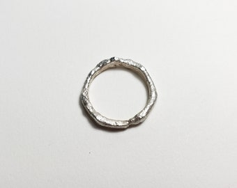 Organic Molten Recycled Silver Ring, Size 7