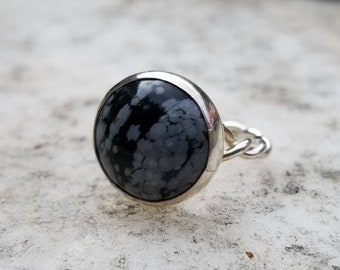 Handmade snowflake obsidian with twisted shank sterling silver ring, size 6.75