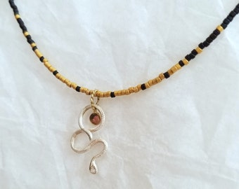Unique Handmade Sterling Silver Snake with 14k Gold Sun Disc and Japanese Micro-beads,  Delicate Beaded Necklace