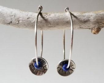 Handmade sterling silver stamped hoops with lapis lazuli, mystic eye earrings