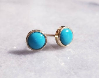 14k gold turquoise post earrings