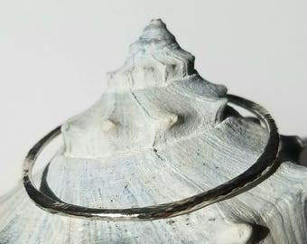 Hammered Sterling Silver Petal Stacking Bangle, Handmade Bracelet