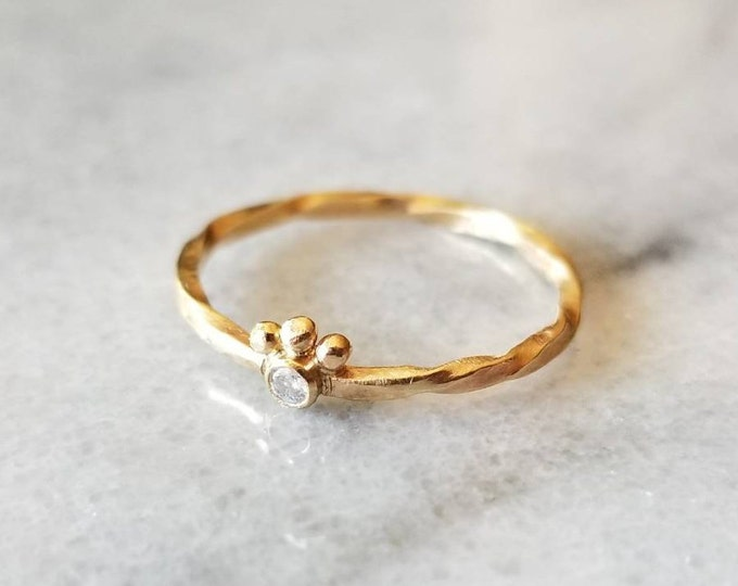 Featured listing image: Unique 14k gold crowned diamond ring, baby diamond ring, size 6.5