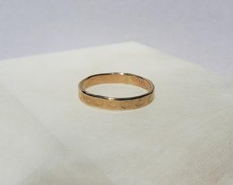 Protective Eye 14k gold Hand Stamped Mystic Symbol Ring, Handmade Subtle Band Size 6.5