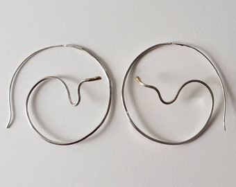 Large Snake Hoop Earrings, Sterling Silver and 14k Gold