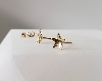 Stargazer Celestial Earrings 14k Gold Concave Star Studs, Post Earrings