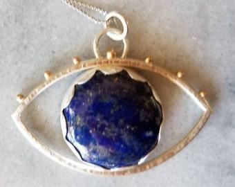 Unique large sterling silver and gold lapis lazuli eye pendant, talisman pendant, evil eye pendant
