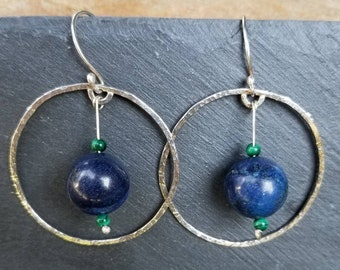 Floating orbs sterling silver and lapis lazuli hoops