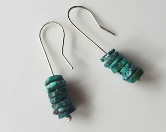 Sterling Silver and Natural Turquoise Slices Unique Hook Earrings