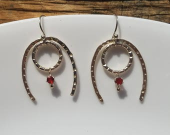 Sterling silver and opal horseshoe earrings