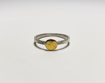 Sun Disc, Minimalist Handmade Pure Gold on Sterling Silver Dot Modern Ring, Square Band Size 8