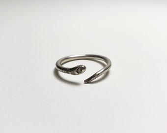 Unique Sterling Silver Snake Ring with Conflict-Free Salt and Pepper Diamond, Handmade OOAK Open Ring