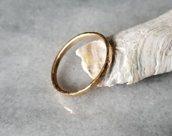 Hammered 14k gold band, wedding ring, stacking ring