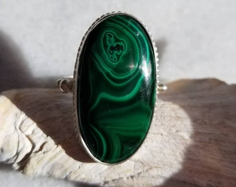 Unique large bullseye malachite and sterling silver ring, size 8-8.5
