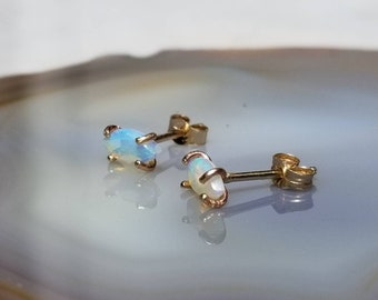 Nebula earrings, tiny Australian opal studs
