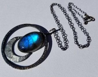 Unique Reticulated Silver and Labradorite Luna Pendant