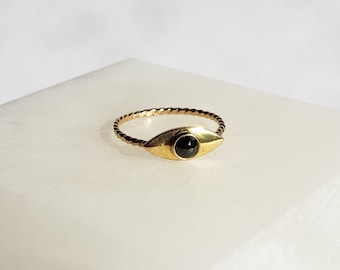 Unique Handmade 14k Gold Rose Cut Conflict-Free Black Diamond Mystic Eye Ring, Talisman Ring, Size 6.5