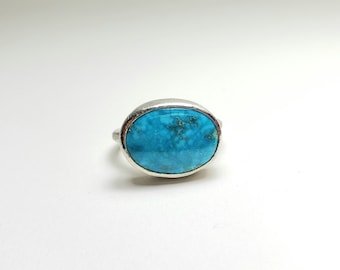 Unique Sky Blue American Turquoise Sterling  Silver Ring, OOAK Handmade Size 7