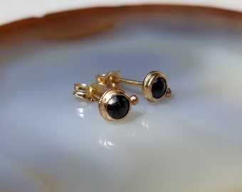 Sparkly 14k gold rose cut 3mm black diamond stud orbit earrings.