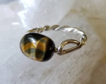 Sterling silver twisted band beautiful tigers eye ring, size 7