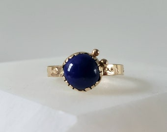 Lapis Lazuli 14k Gold Talisman Eye Ring, Unique Handmade OOAK Ring Size 7