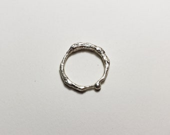 Organic Molten Recycled Silver Ring, Size 6.75