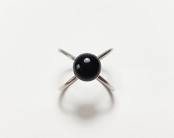 Sterling Silver Double Band Black Onyx Atom Ring Adjustable Size Ring, Criss Cross X Ring