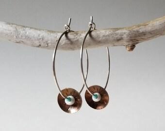 Handmade sterling silver stamped hoops beaded earrings