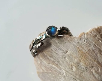 Unique sterling silver twisted rose cut labradorite  ring,  adjustable silver ring