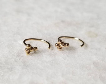 Small Beaded 14k Gold Cluster Hoop Earrings, Unique Hugger Earrings