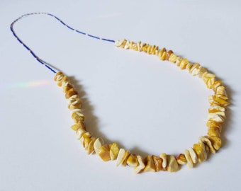 Long, beaded layering amber necklace, one of a kind