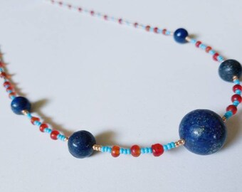 Ancient Egyptian inspired  lapis lazuli and carnelian  beaded necklace